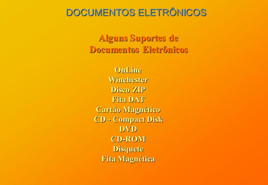 DOCUMENTOS ELETRÔNICOS Alguns Suportes de Documentos Eletrônicos OnLineWinchester Disco ZIP Fita DAT Cartão Magnético CD - Compact Disk DVDCD-ROMDisqu