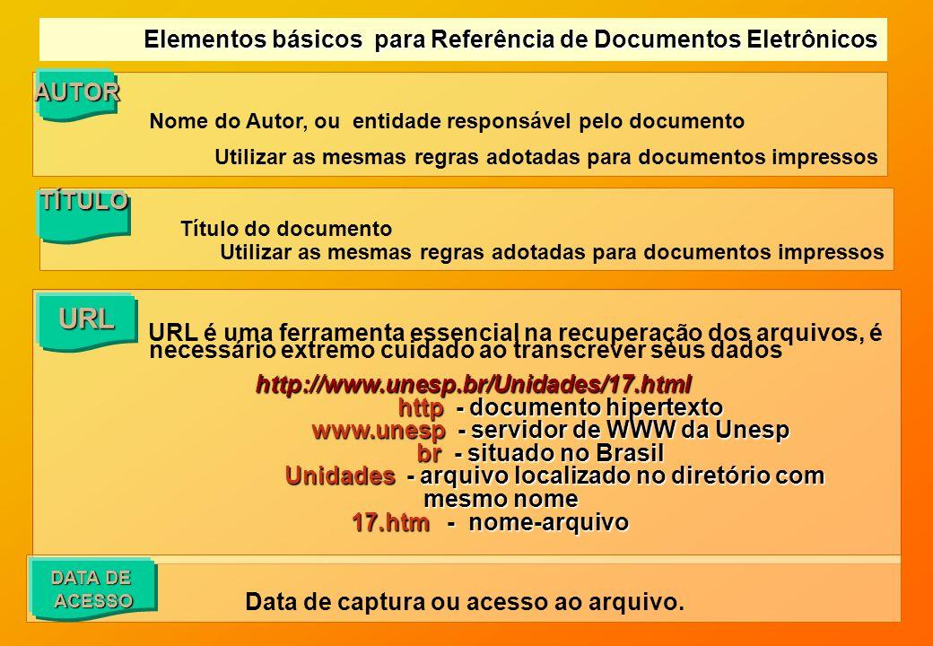 URL é uma ferramenta essencial na recuperação dos arquivos, é necessário extremo cuidado ao transcrever seus dados http://www.unesp.br/Unidades/17.htm