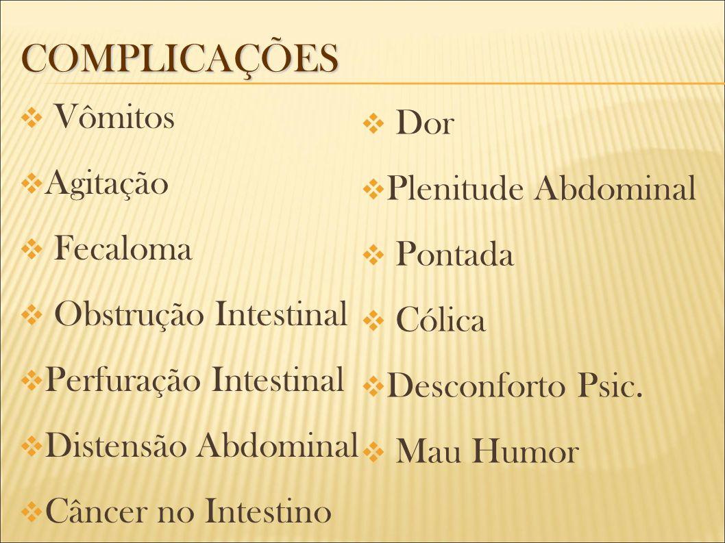 COMPLICAÇÕES Vômitos Agitação Fecaloma Obstrução Intestinal Perfuração Intestinal Distensão Abdominal Câncer no Intestino Dor Plenitude Abdominal Pont