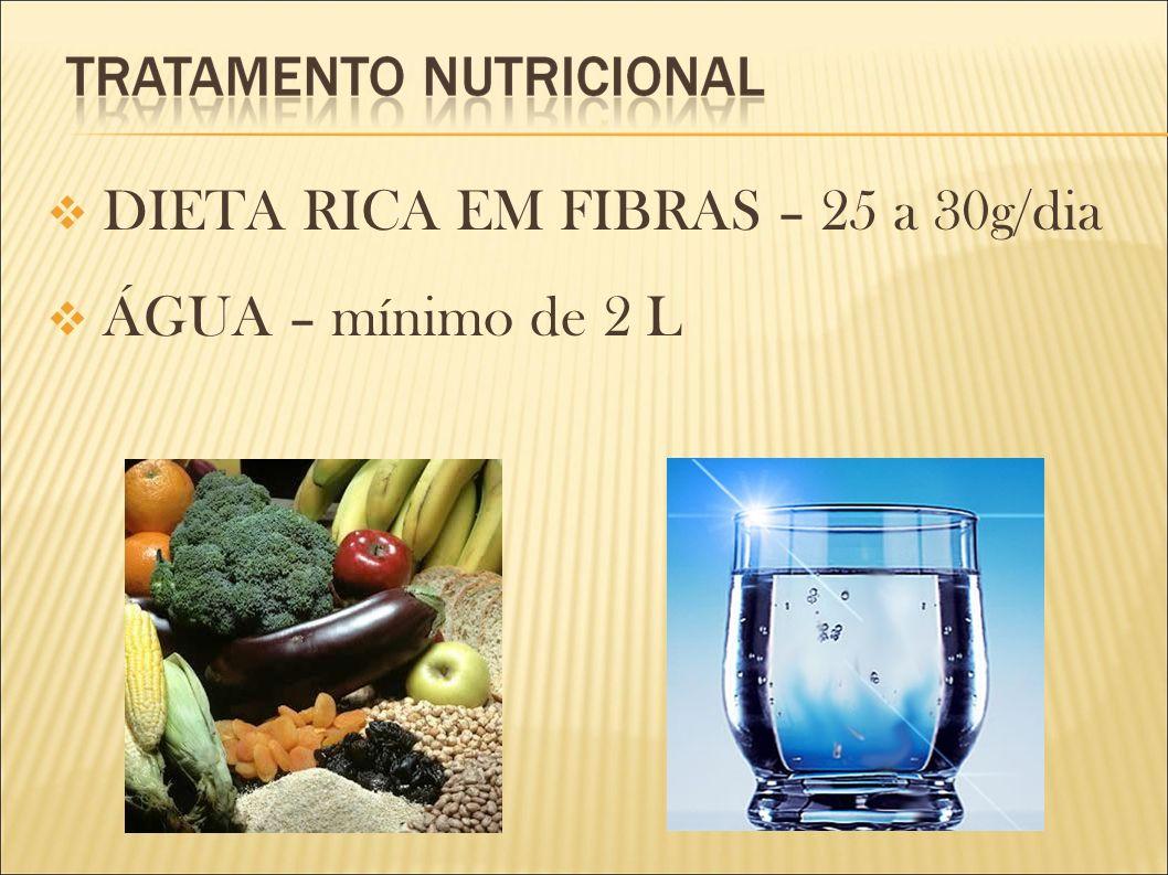 DIETA RICA EM FIBRAS – 25 a 30g/dia ÁGUA – mínimo de 2 L