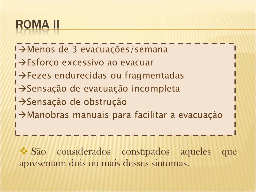 Menos de 3 evacuações/semana Esforço excessivo ao evacuar Fezes endurecidas ou fragmentadas Sensação de evacuação incompleta Sensação de obstrução Man