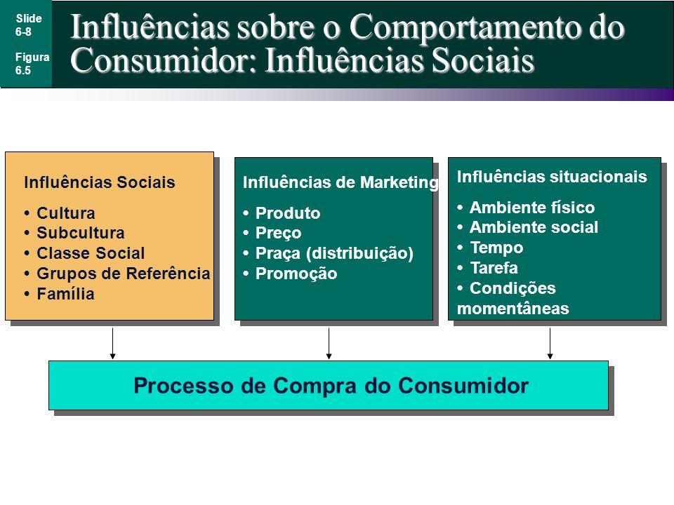 Slide 6-8 Influências sobre o Comportamento do Consumidor: Influências Sociais Figura 6.5 Influências Sociais CulturaSubculturaClasse SocialGrupos de