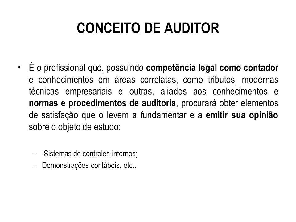REGULAMENTAÇÃO PROFISSIONAL A prática da auditoria, interna ou externa, é exercício exclusivo do contador.