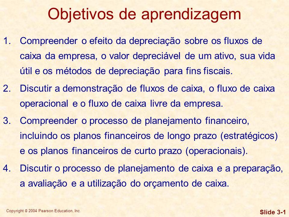 Copyright © 2004 Pearson Education, Inc. Slide 3-0 Capítulo 3 Fluxos de caixa e planejamento financeiro