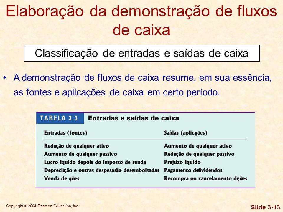 Copyright © 2004 Pearson Education, Inc. Slide 3-12 Elaboração da demonstração de fluxos de caixa