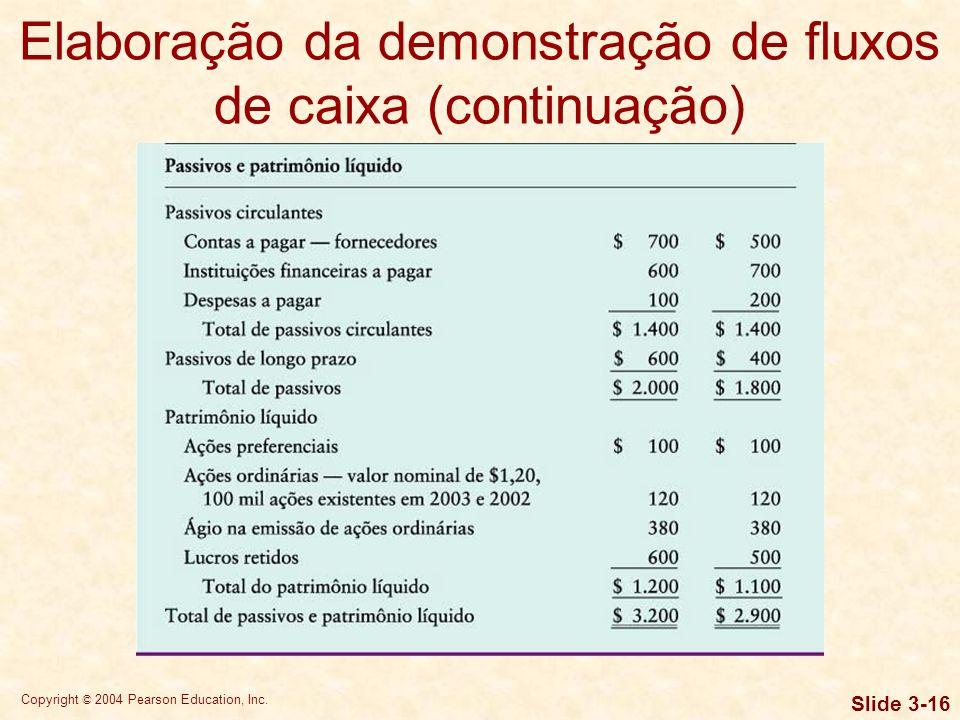 Copyright © 2004 Pearson Education, Inc. Slide 3-15 Elaboração da demonstração de fluxos de caixa