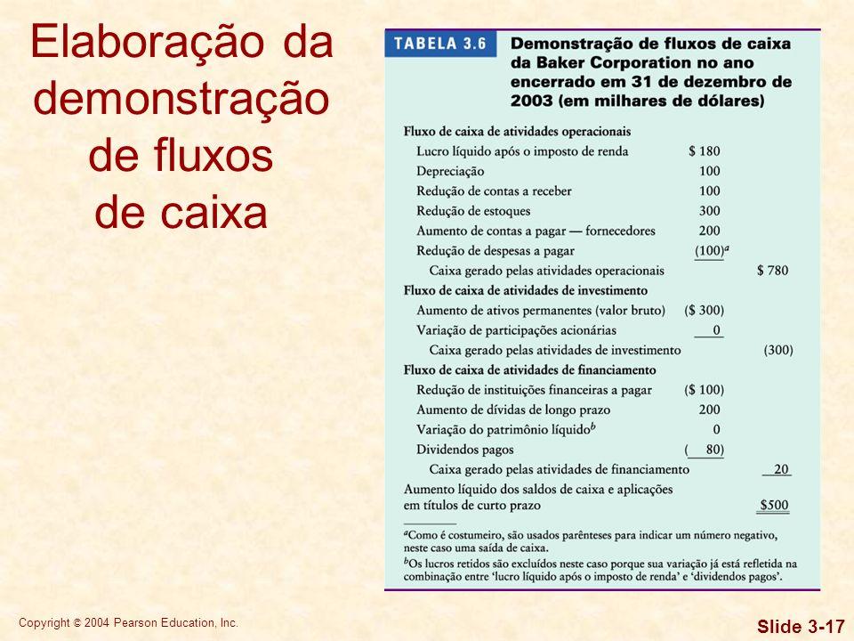 Copyright © 2004 Pearson Education, Inc. Slide 3-16 Elaboração da demonstração de fluxos de caixa (continuação)