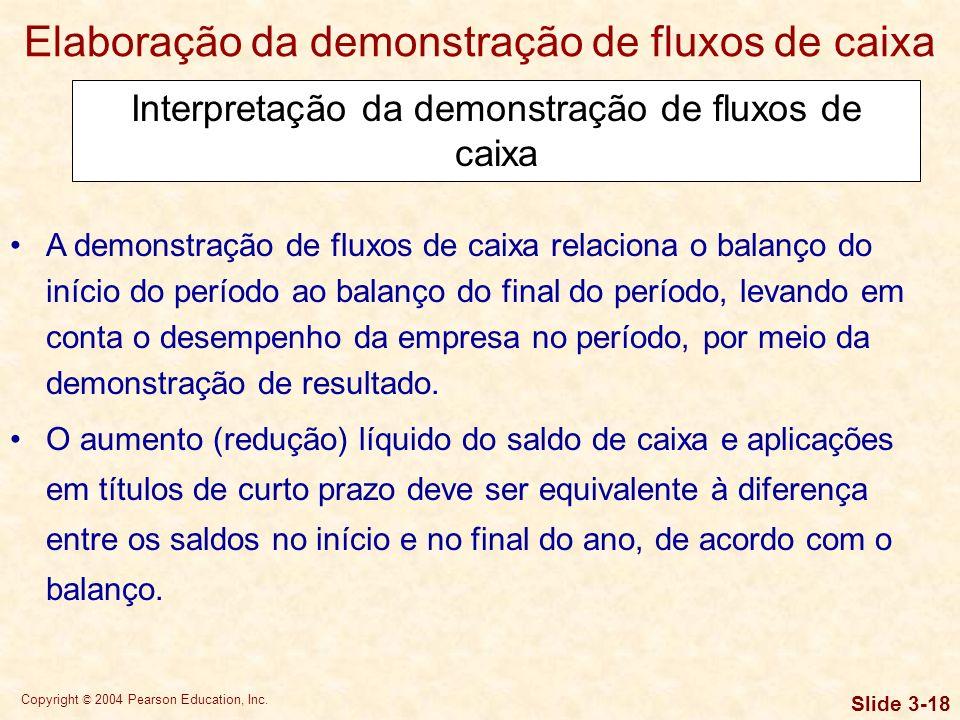 Copyright © 2004 Pearson Education, Inc. Slide 3-17 Elaboração da demonstração de fluxos de caixa