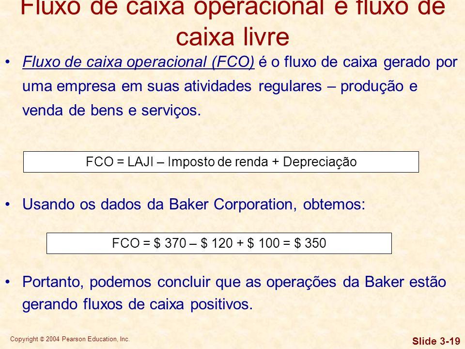 Copyright © 2004 Pearson Education, Inc. Slide 3-18 Interpretação da demonstração de fluxos de caixa A demonstração de fluxos de caixa relaciona o bal