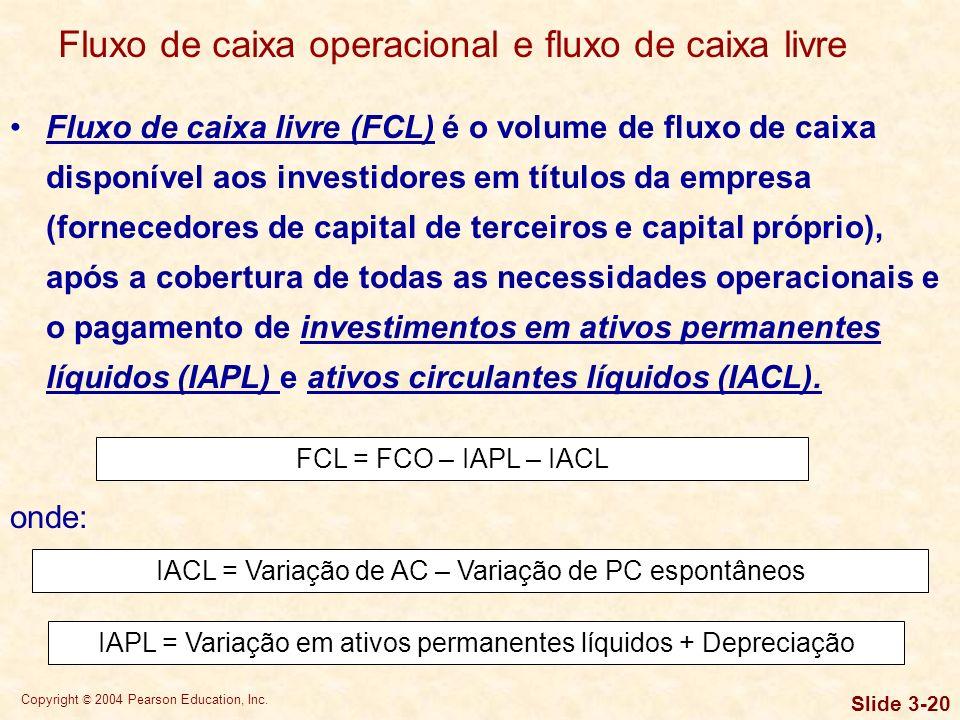 Copyright © 2004 Pearson Education, Inc. Slide 3-19 Fluxo de caixa operacional (FCO) é o fluxo de caixa gerado por uma empresa em suas atividades regu