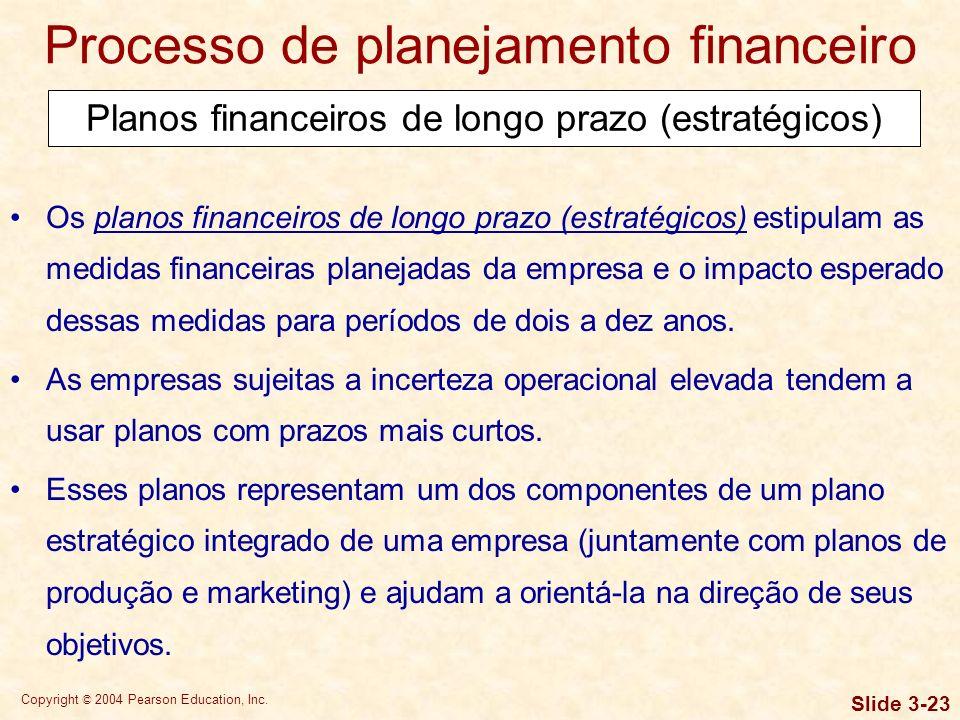 Copyright © 2004 Pearson Education, Inc. Slide 3-22 Processo de planejamento financeiro O planejamento financeiro envolve a orientação, a coordenação