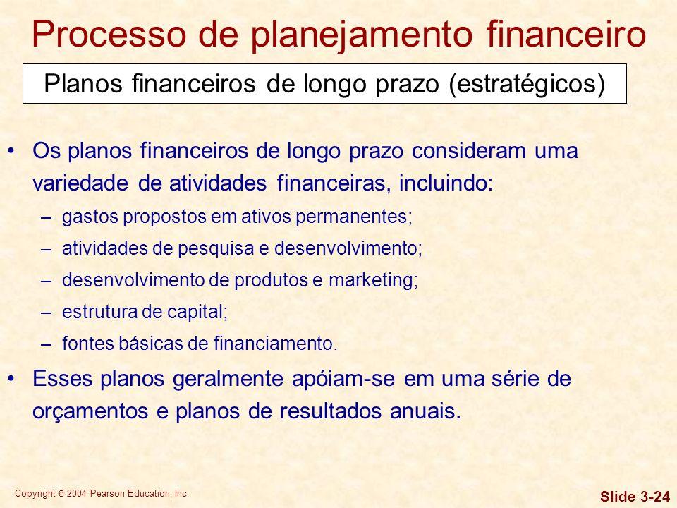 Copyright © 2004 Pearson Education, Inc. Slide 3-23 Processo de planejamento financeiro Os planos financeiros de longo prazo (estratégicos) estipulam