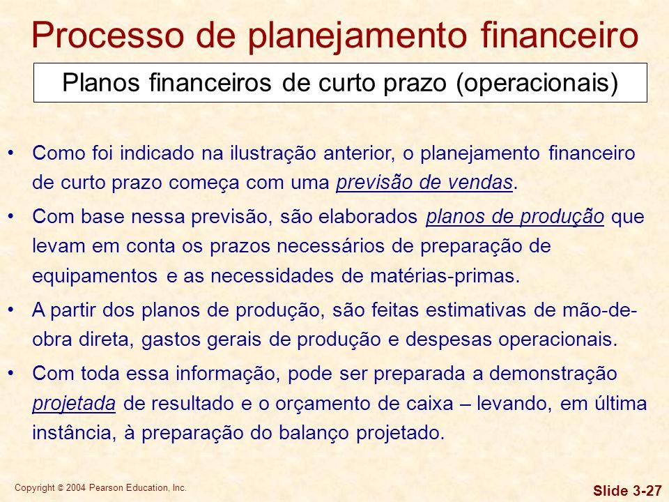 Copyright © 2004 Pearson Education, Inc. Slide 3-26 Planos financeiros de curto prazo (operacionais) Processo de planejamento financeiro