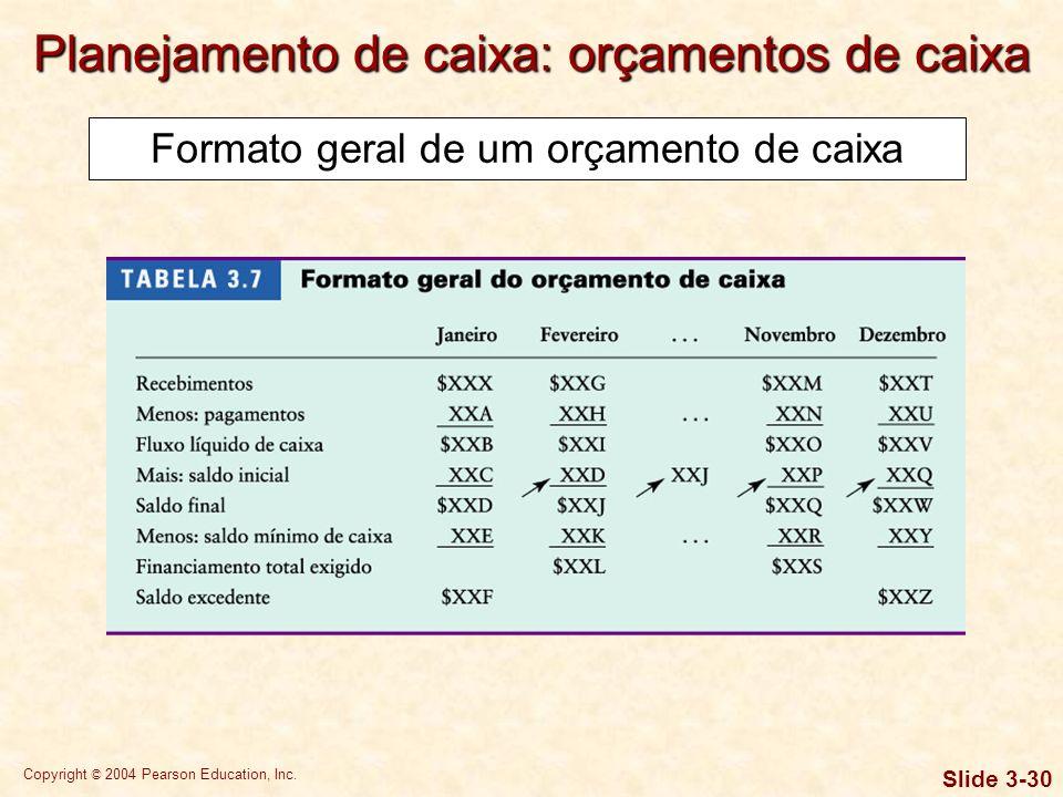 Copyright © 2004 Pearson Education, Inc. Slide 3-29 O orçamento de caixa começa com uma previsão de vendas, a qual é simplesmente uma predição das rec