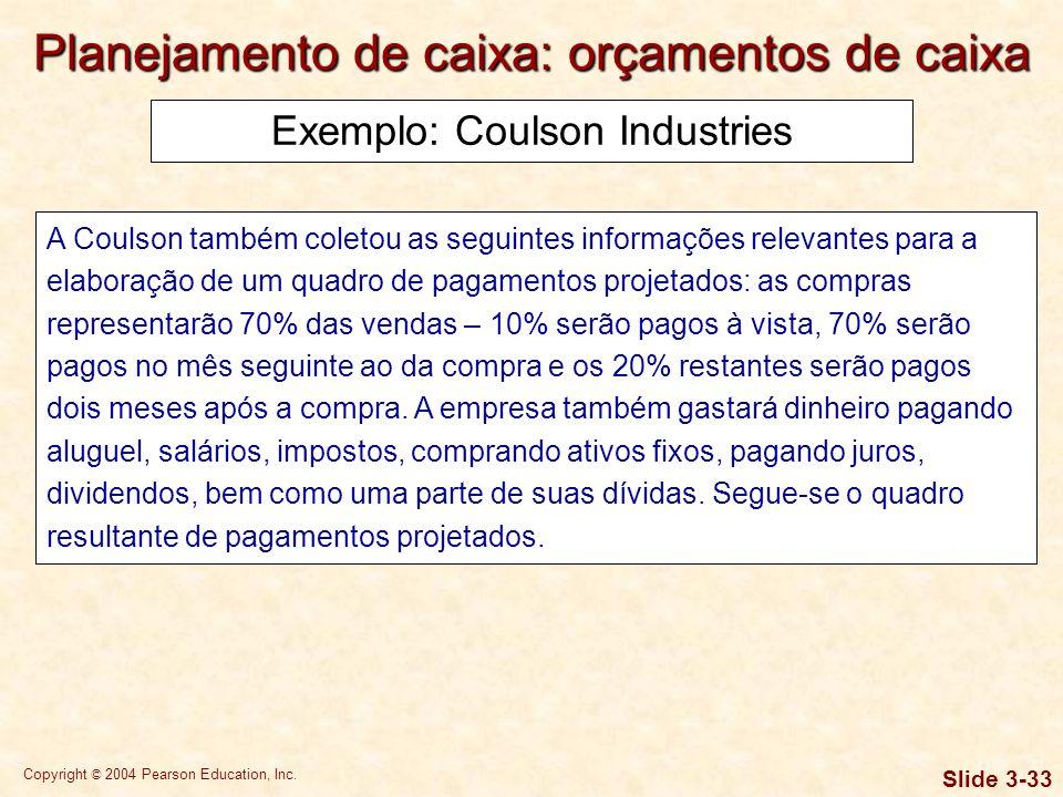 Copyright © 2004 Pearson Education, Inc. Slide 3-32 Exemplo: Coulson Industries Com essas informações, é possível elaborar o seguinte quadro de recebi