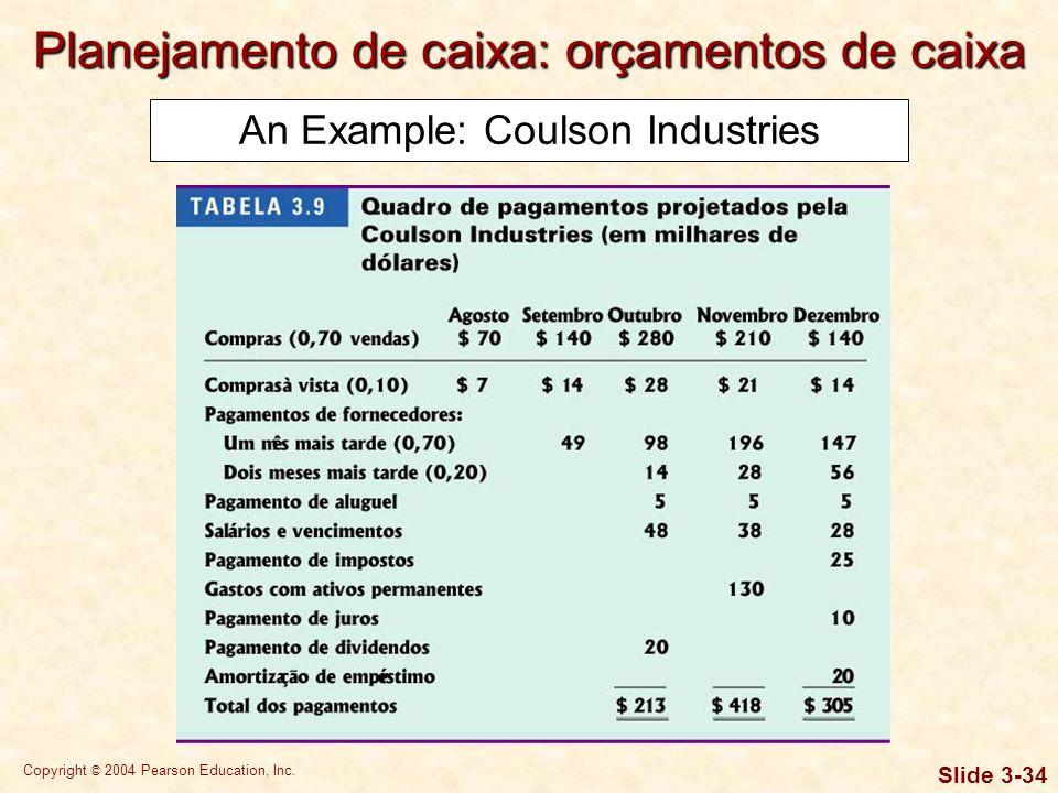 Copyright © 2004 Pearson Education, Inc. Slide 3-33 Exemplo: Coulson Industries A Coulson também coletou as seguintes informações relevantes para a el
