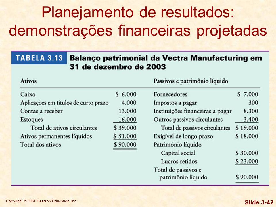 Copyright © 2004 Pearson Education, Inc. Slide 3-41 Planejamento de resultados: demonstrações financeiras projetadas