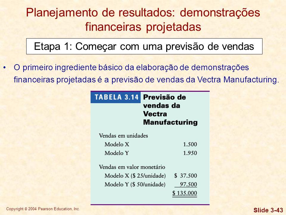 Copyright © 2004 Pearson Education, Inc. Slide 3-42 Planejamento de resultados: demonstrações financeiras projetadas