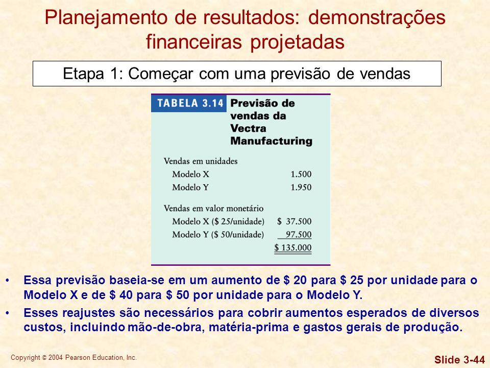 Copyright © 2004 Pearson Education, Inc. Slide 3-43 O primeiro ingrediente básico da elaboração de demonstrações financeiras projetadas é a previsão d