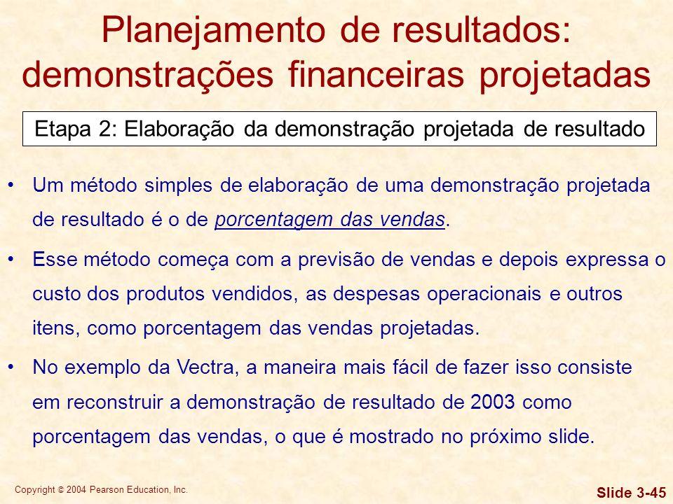 Copyright © 2004 Pearson Education, Inc. Slide 3-44 Essa previsão baseia-se em um aumento de $ 20 para $ 25 por unidade para o Modelo X e de $ 40 para