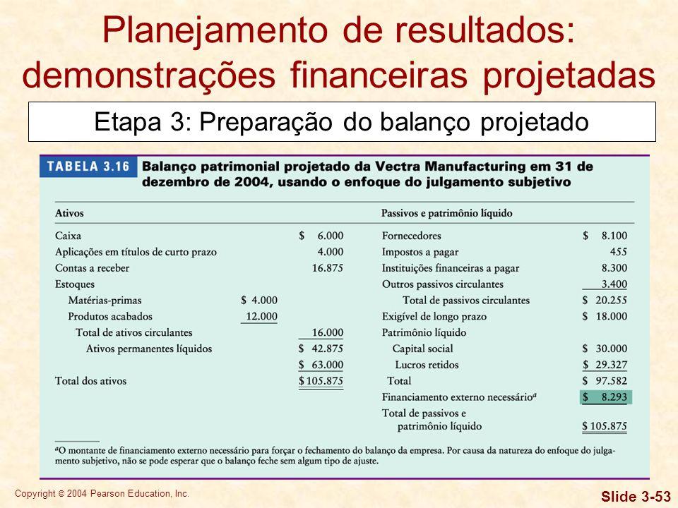 Copyright © 2004 Pearson Education, Inc. Slide 3-52 Planejamento de resultados: demonstrações financeiras projetadas Etapa 3: Preparação do balanço pr