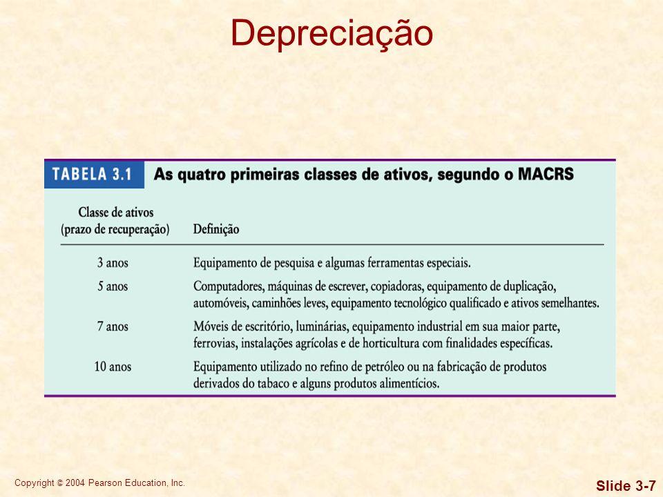 Copyright © 2004 Pearson Education, Inc. Slide 3-6 Depreciação De acordo com os procedimentos básicos do sistema MACRS, o valor depreciável de um ativ