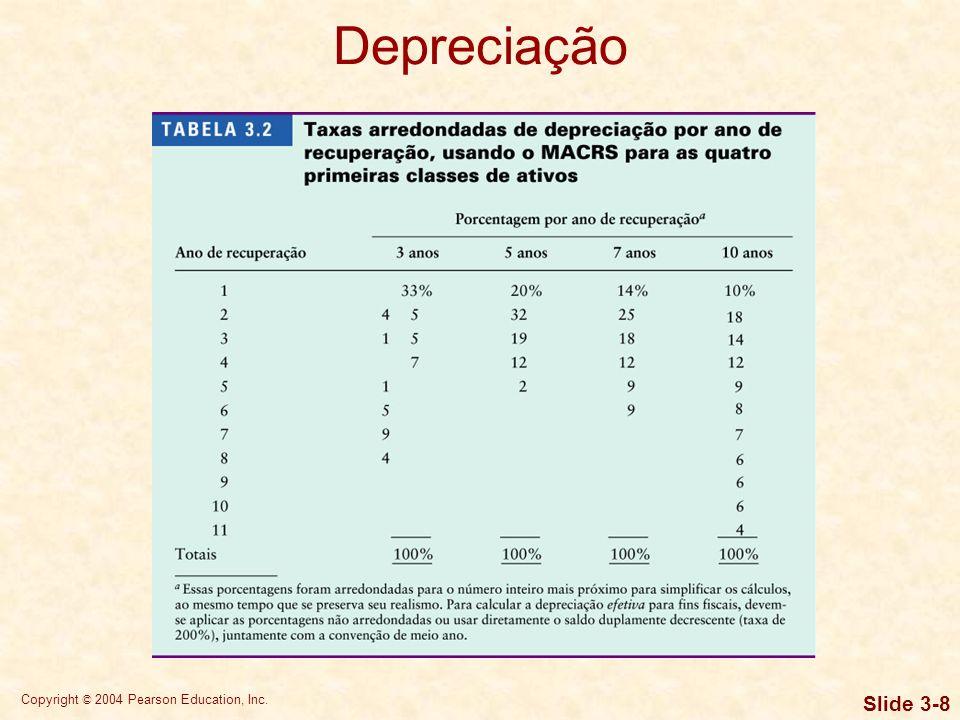 Copyright © 2004 Pearson Education, Inc. Slide 3-8 Depreciação