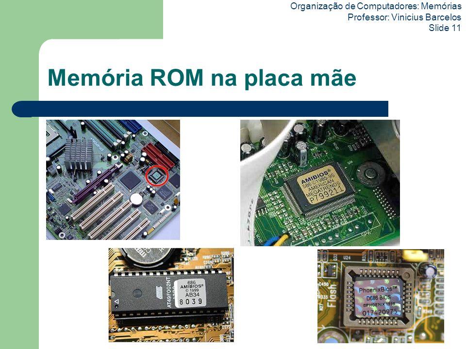 Organização de Computadores: Memórias Professor: Vinicius Barcelos Slide 11 Memória ROM na placa mãe