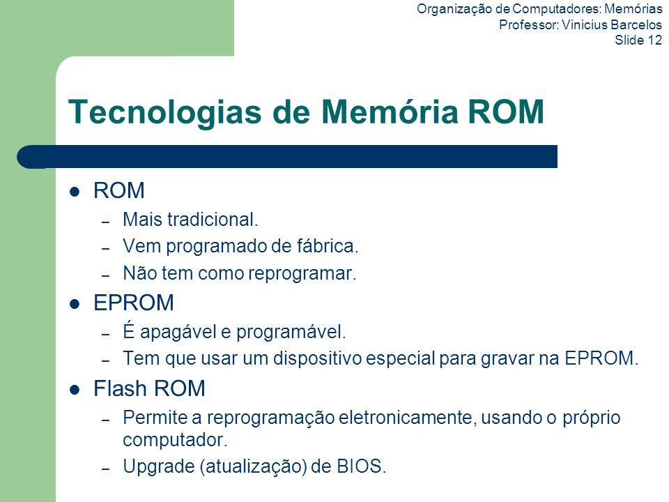 Organização de Computadores: Memórias Professor: Vinicius Barcelos Slide 12 Tecnologias de Memória ROM ROM – Mais tradicional. – Vem programado de fáb