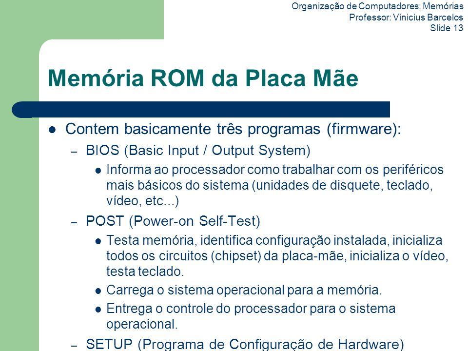 Organização de Computadores: Memórias Professor: Vinicius Barcelos Slide 13 Memória ROM da Placa Mãe Contem basicamente três programas (firmware): – B