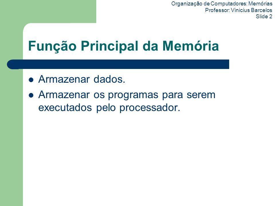 Organização de Computadores: Memórias Professor: Vinicius Barcelos Slide 2 Função Principal da Memória Armazenar dados. Armazenar os programas para se