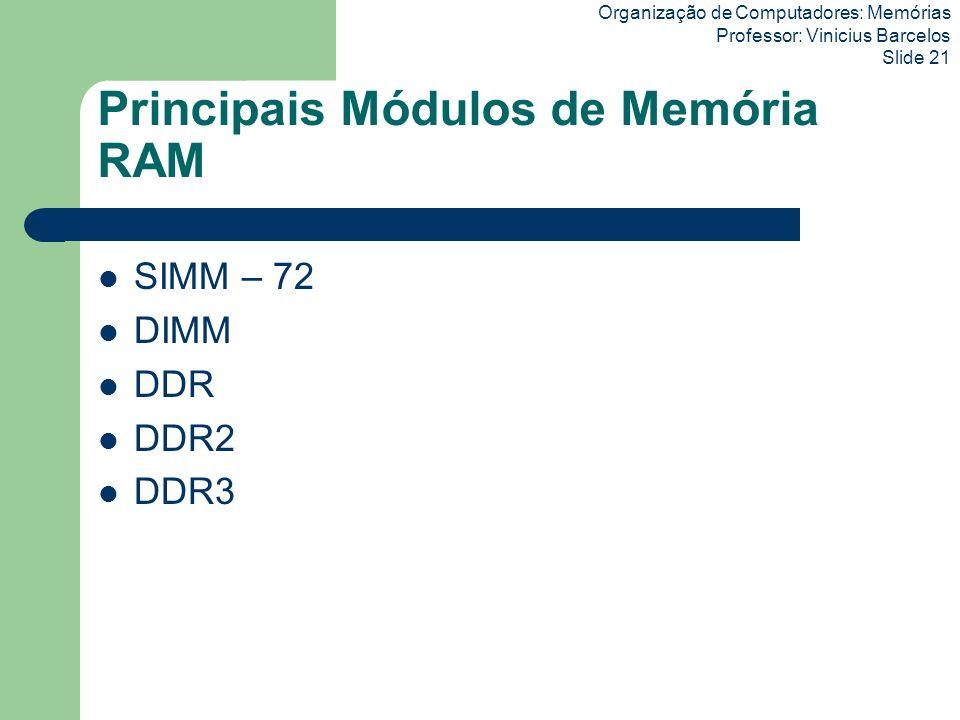 Organização de Computadores: Memórias Professor: Vinicius Barcelos Slide 21 Principais Módulos de Memória RAM SIMM – 72 DIMM DDR DDR2 DDR3