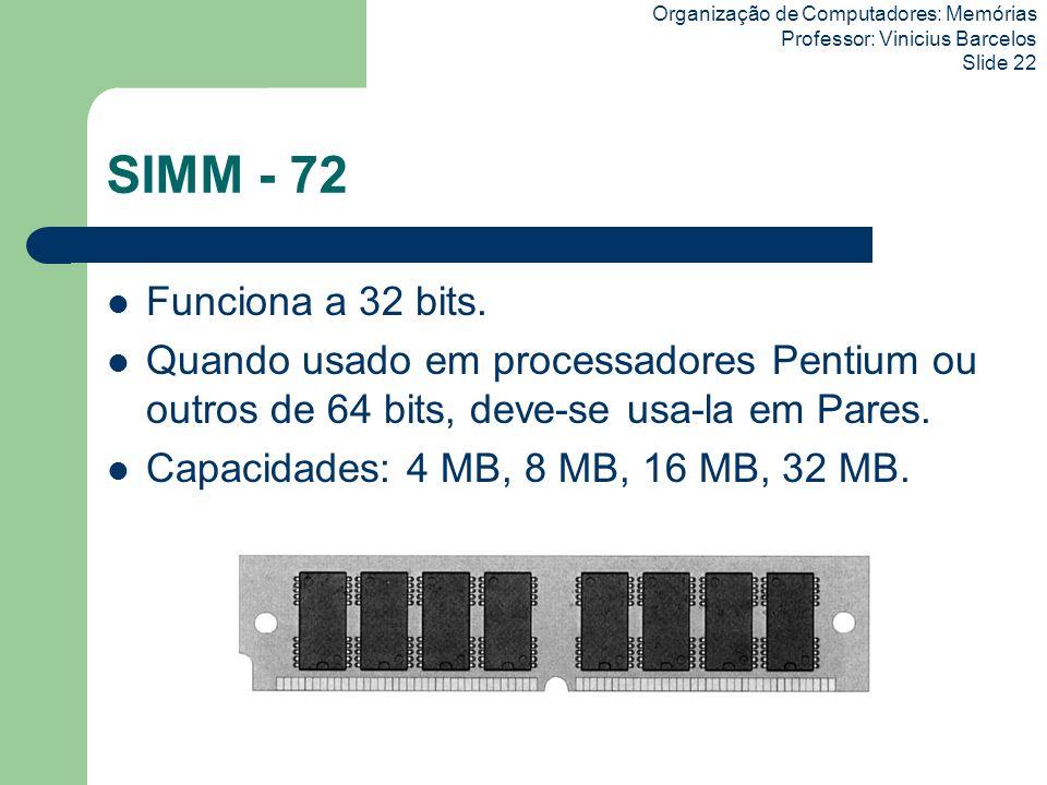 Organização de Computadores: Memórias Professor: Vinicius Barcelos Slide 22 SIMM - 72 Funciona a 32 bits. Quando usado em processadores Pentium ou out