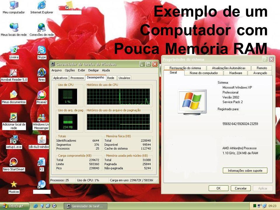 Organização de Computadores: Memórias Professor: Vinicius Barcelos Slide 31 Exemplo de um Computador com Pouca Memória RAM