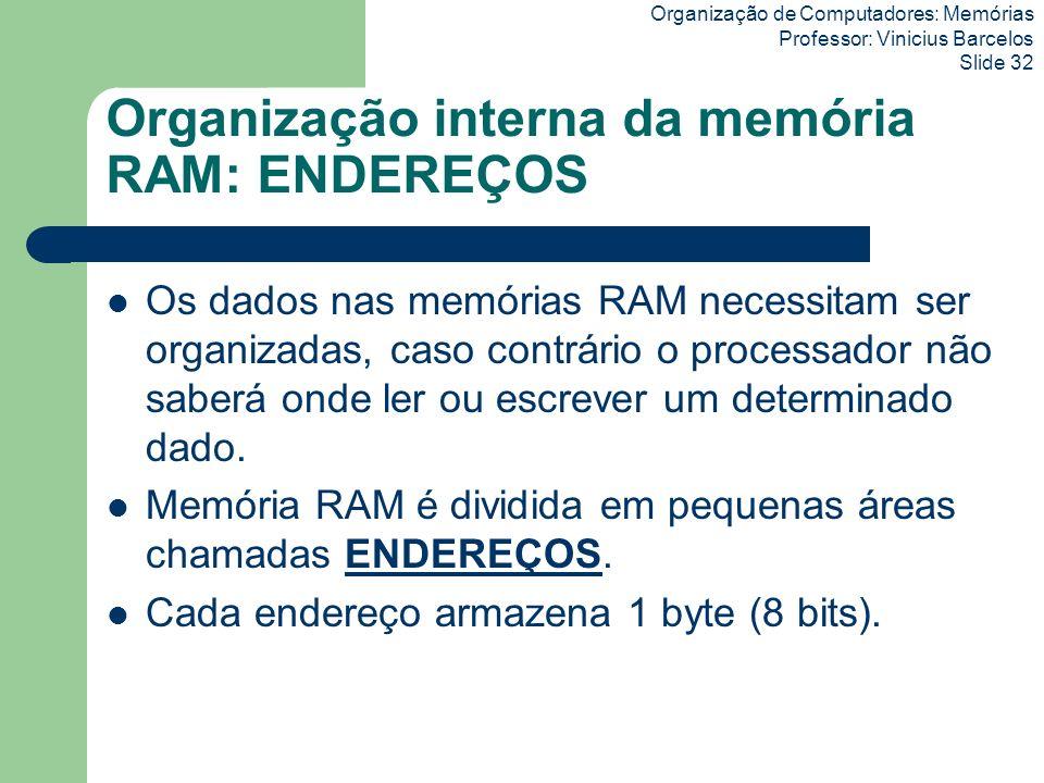 Organização de Computadores: Memórias Professor: Vinicius Barcelos Slide 32 Organização interna da memória RAM: ENDEREÇOS Os dados nas memórias RAM ne
