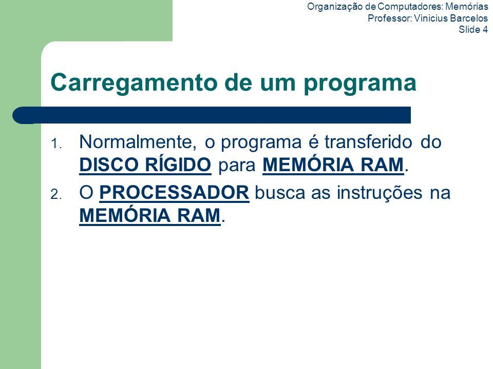 Organização de Computadores: Memórias Professor: Vinicius Barcelos Slide 4 Carregamento de um programa 1. Normalmente, o programa é transferido do DIS