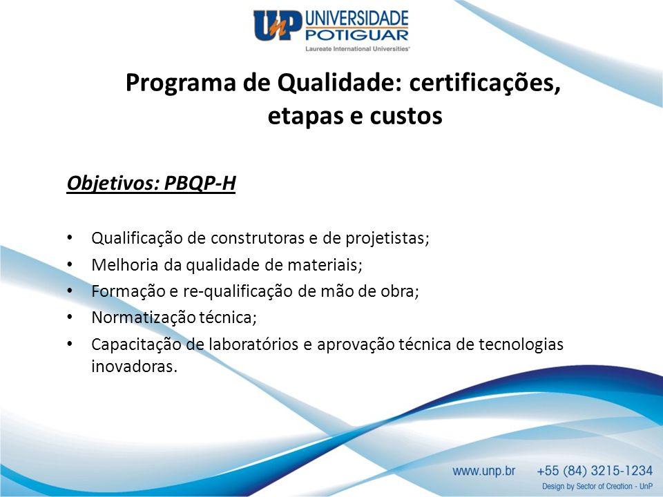 Programa de Qualidade: certificações, etapas e custos Objetivos: PBQP-H Qualificação de construtoras e de projetistas; Melhoria da qualidade de materi