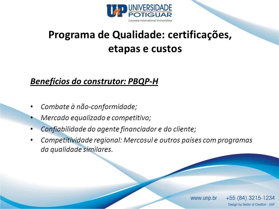 Programa de Qualidade: certificações, etapas e custos Benefícios do construtor: PBQP-H Combate à não-conformidade; Mercado equalizado e competitivo; C