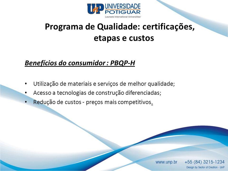 Programa de Qualidade: certificações, etapas e custos Benefícios do consumidor : PBQP-H Utilização de materiais e serviços de melhor qualidade; Acesso