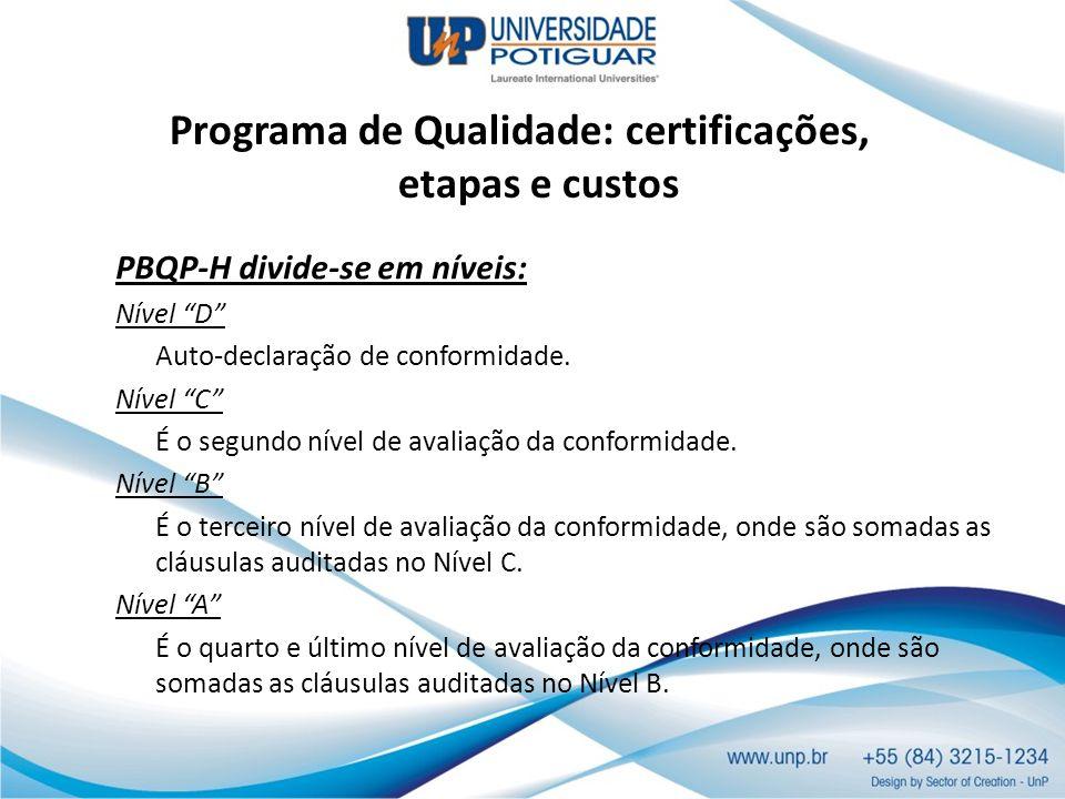 Programa de Qualidade: certificações, etapas e custos PBQP-H divide-se em níveis: Nível D Auto-declaração de conformidade. Nível C É o segundo nível d
