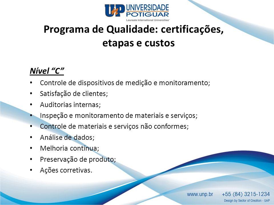 Programa de Qualidade: certificações, etapas e custos Nível C Controle de dispositivos de medição e monitoramento; Satisfação de clientes; Auditorias