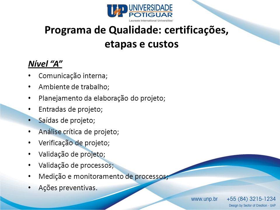 Programa de Qualidade: certificações, etapas e custos Nível A Comunicação interna; Ambiente de trabalho; Planejamento da elaboração do projeto; Entrad
