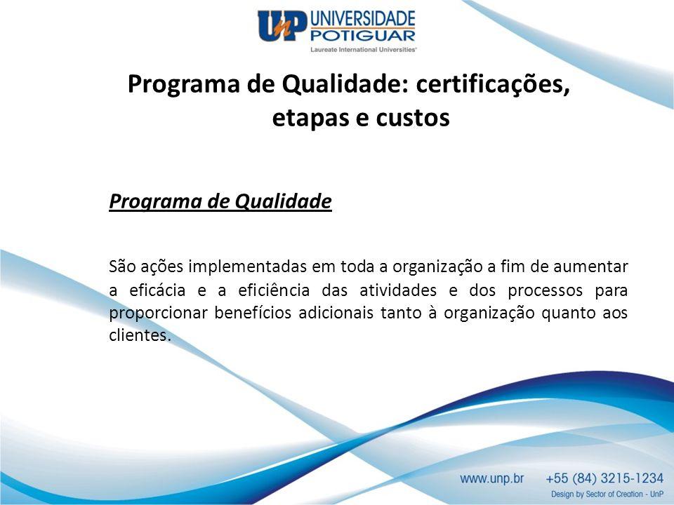 Programa de Qualidade: certificações, etapas e custos Programa de Qualidade São ações implementadas em toda a organização a fim de aumentar a eficácia