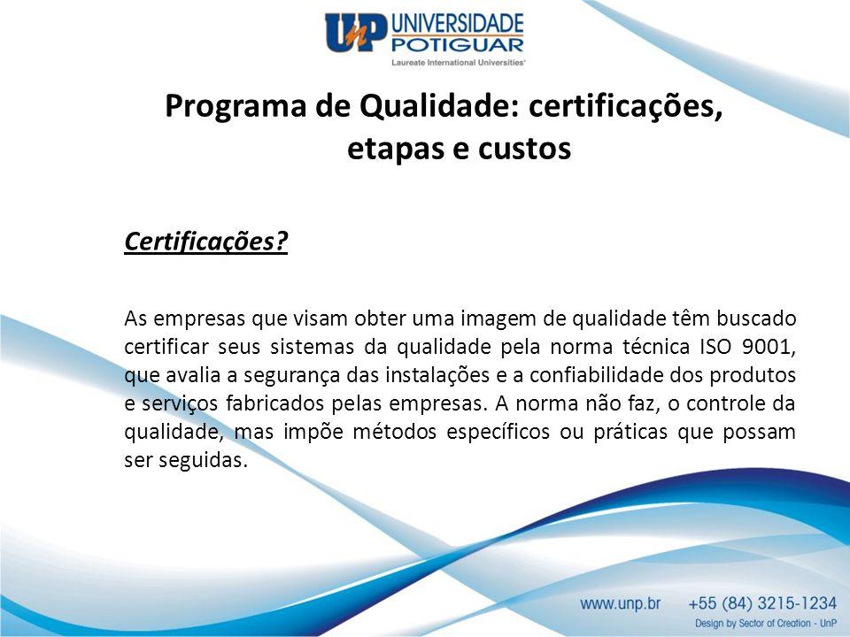 Programa de Qualidade: certificações, etapas e custos Certificações? As empresas que visam obter uma imagem de qualidade têm buscado certificar seus s