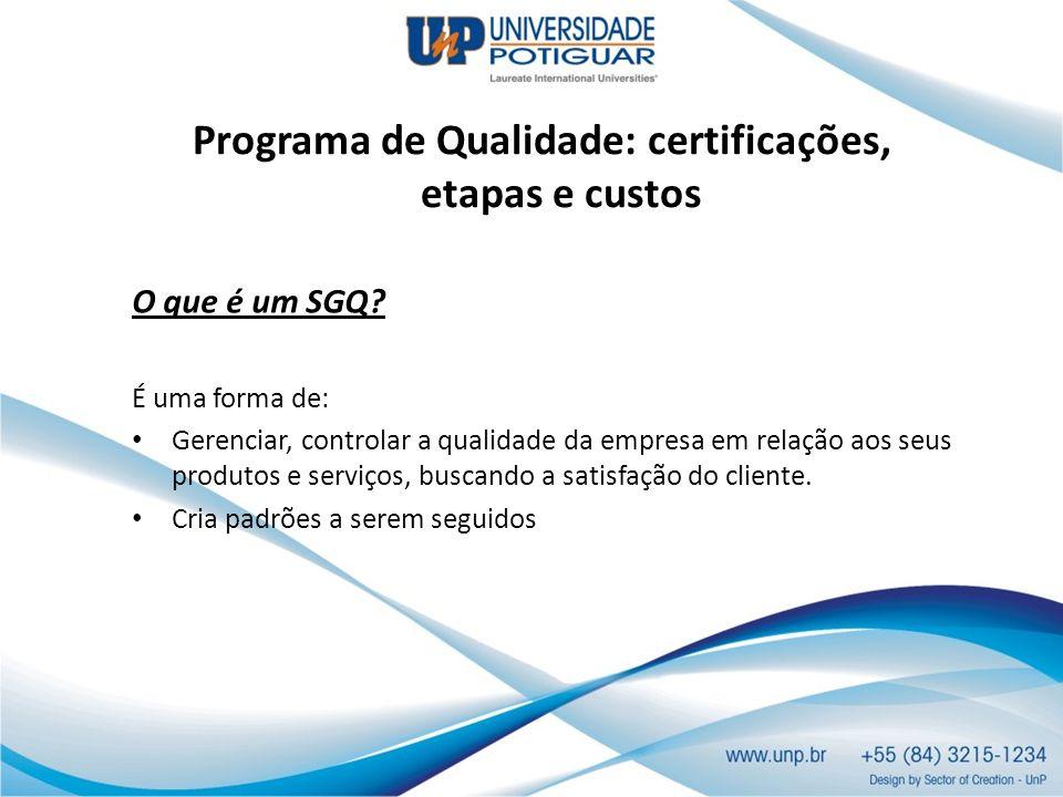 Programa de Qualidade: certificações, etapas e custos O que é um SGQ? É uma forma de: Gerenciar, controlar a qualidade da empresa em relação aos seus