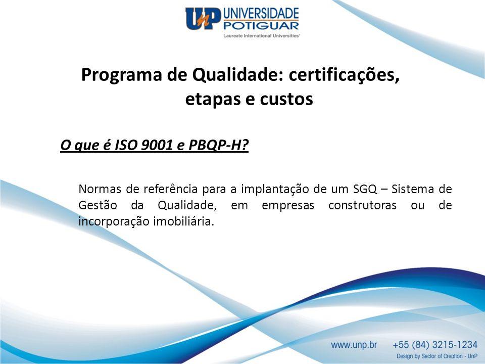 Programa de Qualidade: certificações, etapas e custos O que é ISO 9001 e PBQP-H? Normas de referência para a implantação de um SGQ – Sistema de Gestão