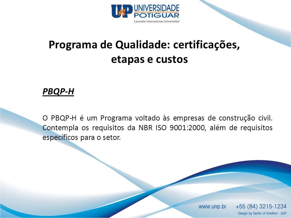 Programa de Qualidade: certificações, etapas e custos PBQP-H O PBQP-H é um Programa voltado às empresas de construção civil. Contempla os requisitos d
