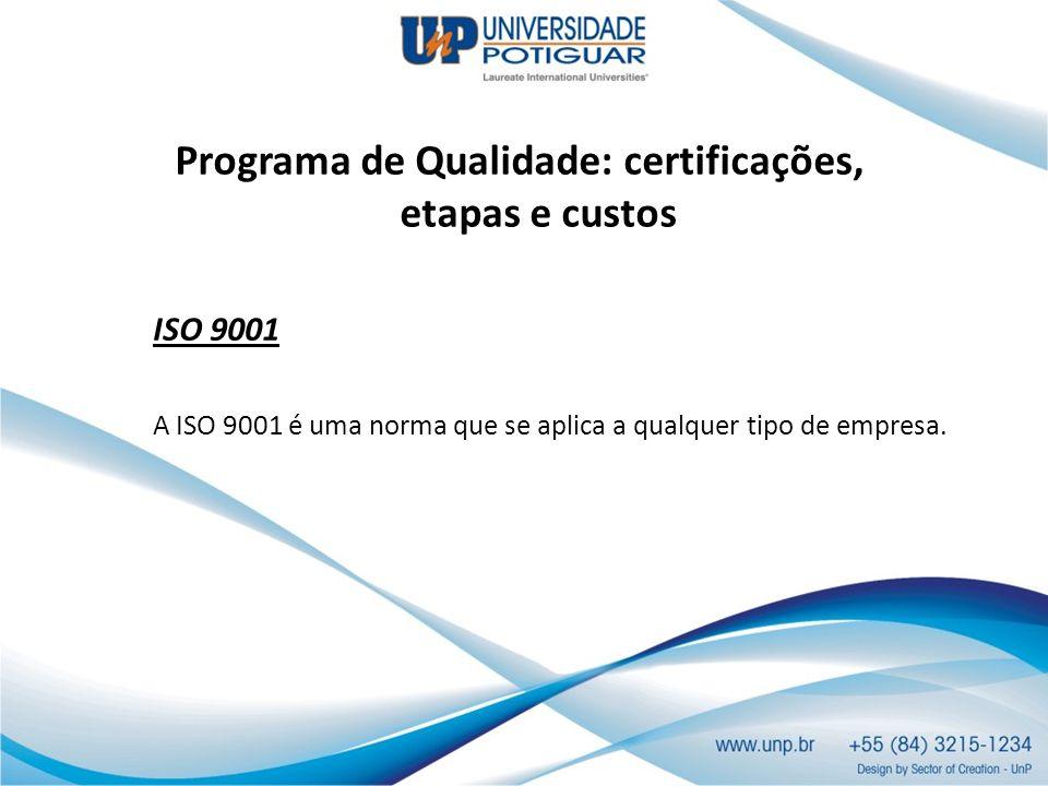 Programa de Qualidade: certificações, etapas e custos ISO 9001 A ISO 9001 é uma norma que se aplica a qualquer tipo de empresa.