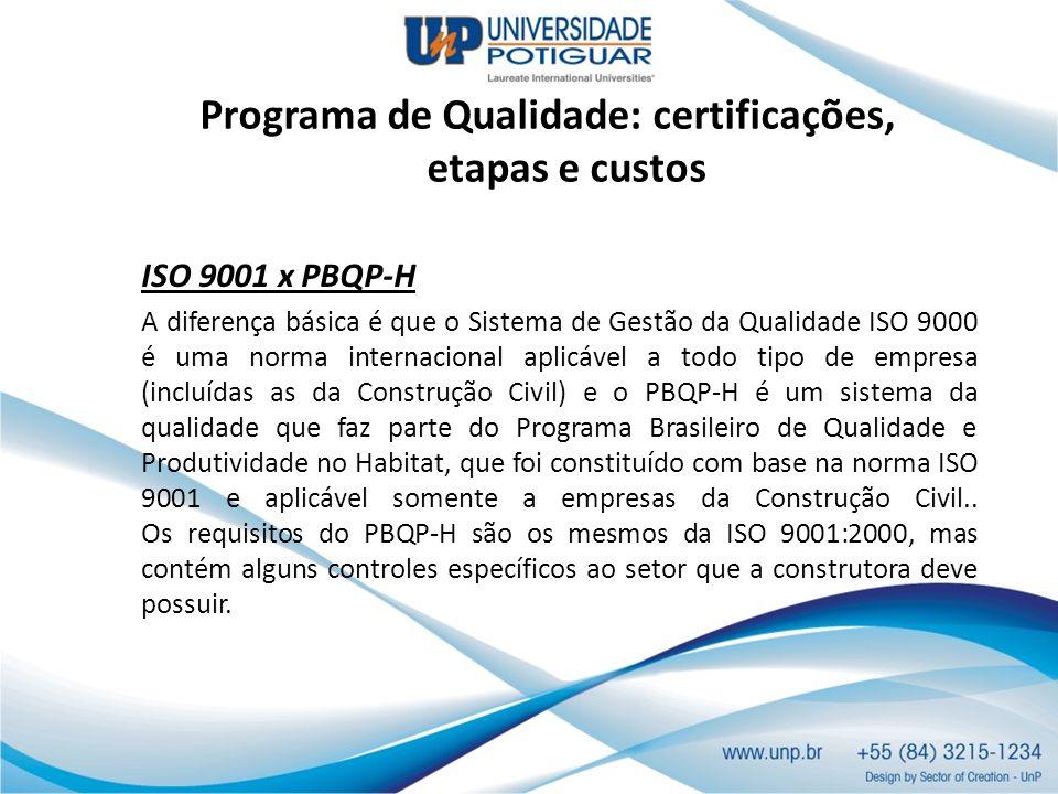 Programa de Qualidade: certificações, etapas e custos ISO 9001 x PBQP-H A diferença básica é que o Sistema de Gestão da Qualidade ISO 9000 é uma norma