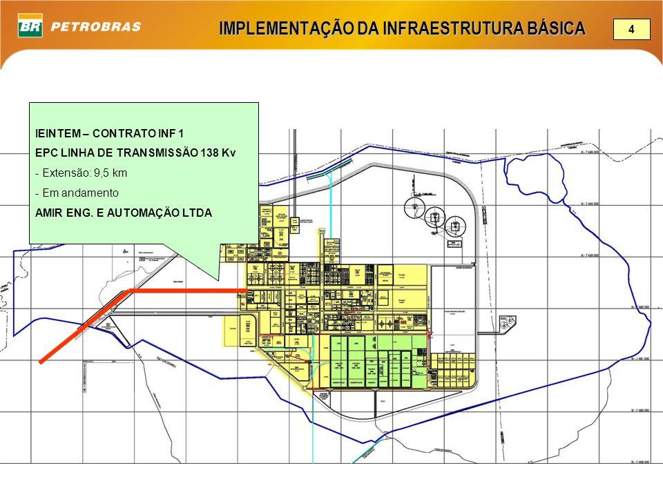 IEINTEM – CONTRATO INF 1 EPC LINHA DE TRANSMISSÃO 138 Kv - Extensão: 9,5 km - Em andamento AMIR ENG. E AUTOMAÇÃO LTDA IMPLEMENTAÇÃO DA INFRAESTRUTURA
